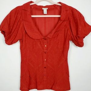 Anthro Odille Button Down Peasant T…